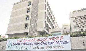 ghmc fine to trs leader anand babu goud over place flexi at hyderabad
