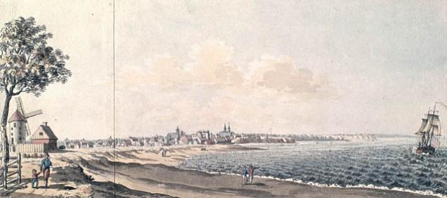 Trois-Rivières vers 1784. Moulin à gauche de l'image