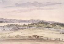 Rivière-du-Loup vers 1838-1840. Crédit: Bibliothèque et Archives Canada, no d'acc 1939-399-15