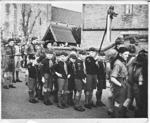 Cubs on parade at Southwell about 1948