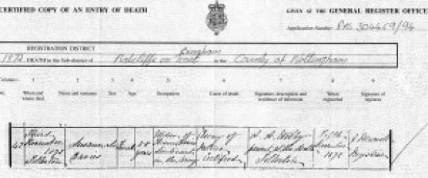 Susannah Davies' death certificate