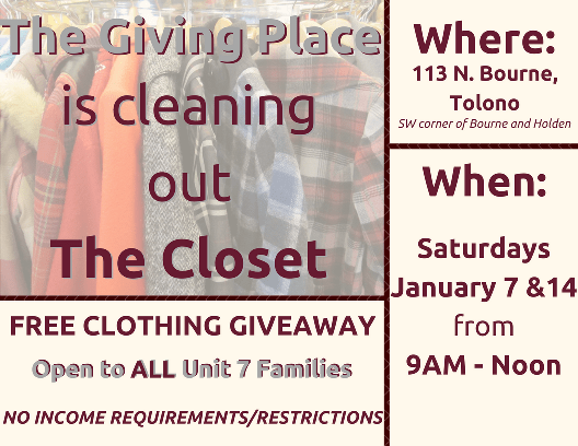 The Giving Place - Tolono Clothing Giveaway