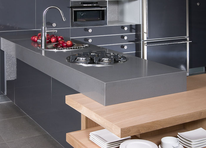 inexpensive countertops for kitchens kitchen cabinet price caesarstone-concrete-kitchen