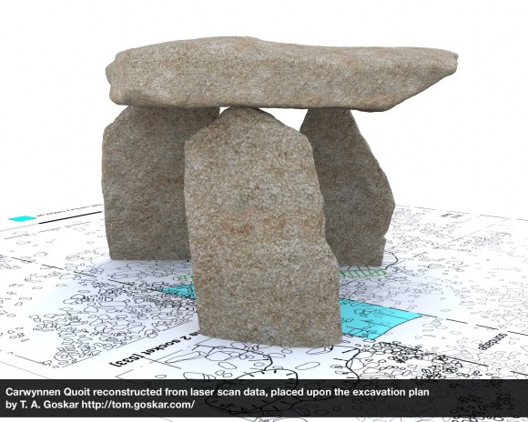 Carwynnen Quoit reconstructed from laser scan data, placed upon the excavation plan