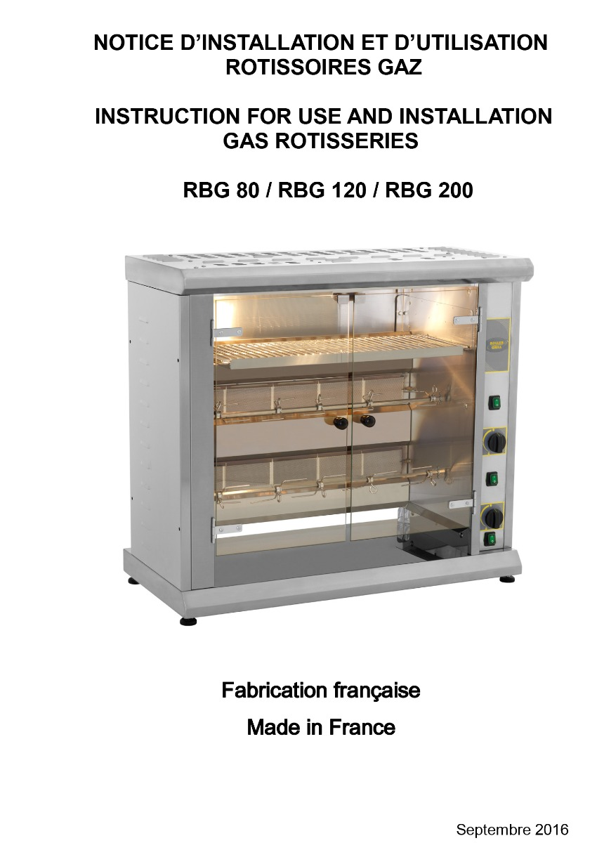 Roller Grill RBG 80 - Professional Gas Rotisserie - 2 Spits - 94x45x84.5 cm