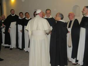 The Master of the Order, fr. Bruno Cadoré o.p. introducing fr. Mike Deeb o.p., new head of the Dominican Delegation to the United Nations to Pope Francis after Ashes Mass