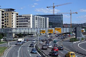 English: Traffic in Oslo (E18 Bjørvika)