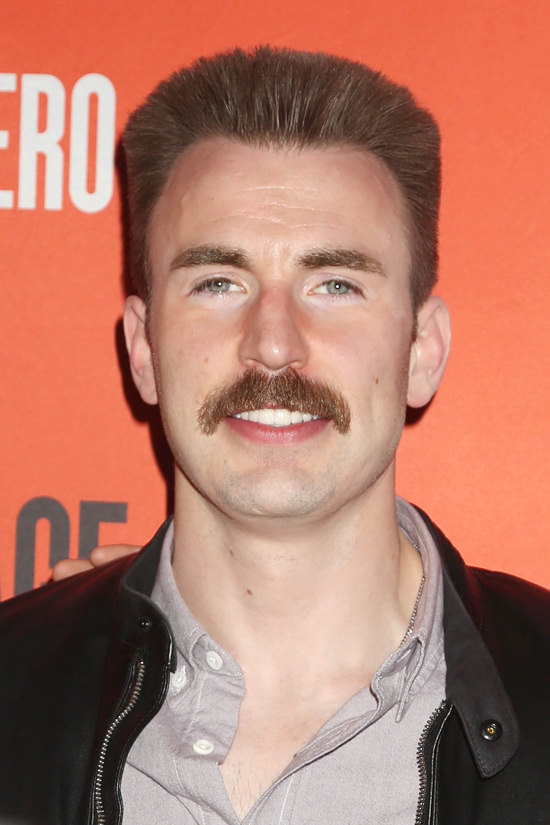 Chris Evans And His Mustache At The Lobby Hero Broadway