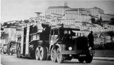 Camião gigante que transportou um rotor de 64 500 Kg, que levou 30 dias a chegar de Lisboa ao Castelo do Bode, foi preciso alargar estradas, reforçar pontes, cortar árvores