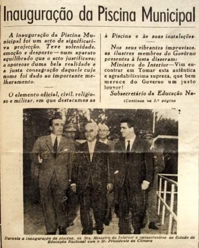 inauguração da piscina municipal 1961 Templário