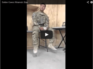 soldier sings a rihaha song