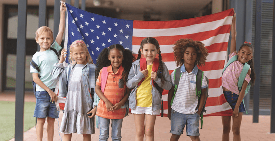Children with US Flag