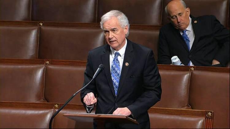 Tom McClintock addressing an empty House Chamber