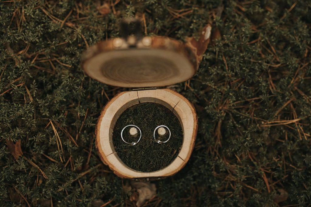 obrączki mech drewno podlaskie igliwie twardowski fotografia ślubna poznań