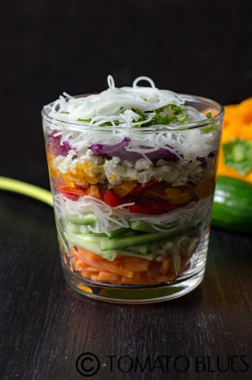 spring roll salad in a jar