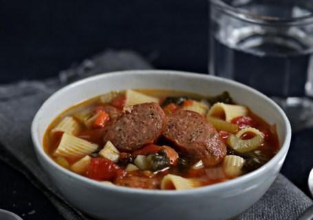 Bowl of minestrone soup on a napkin