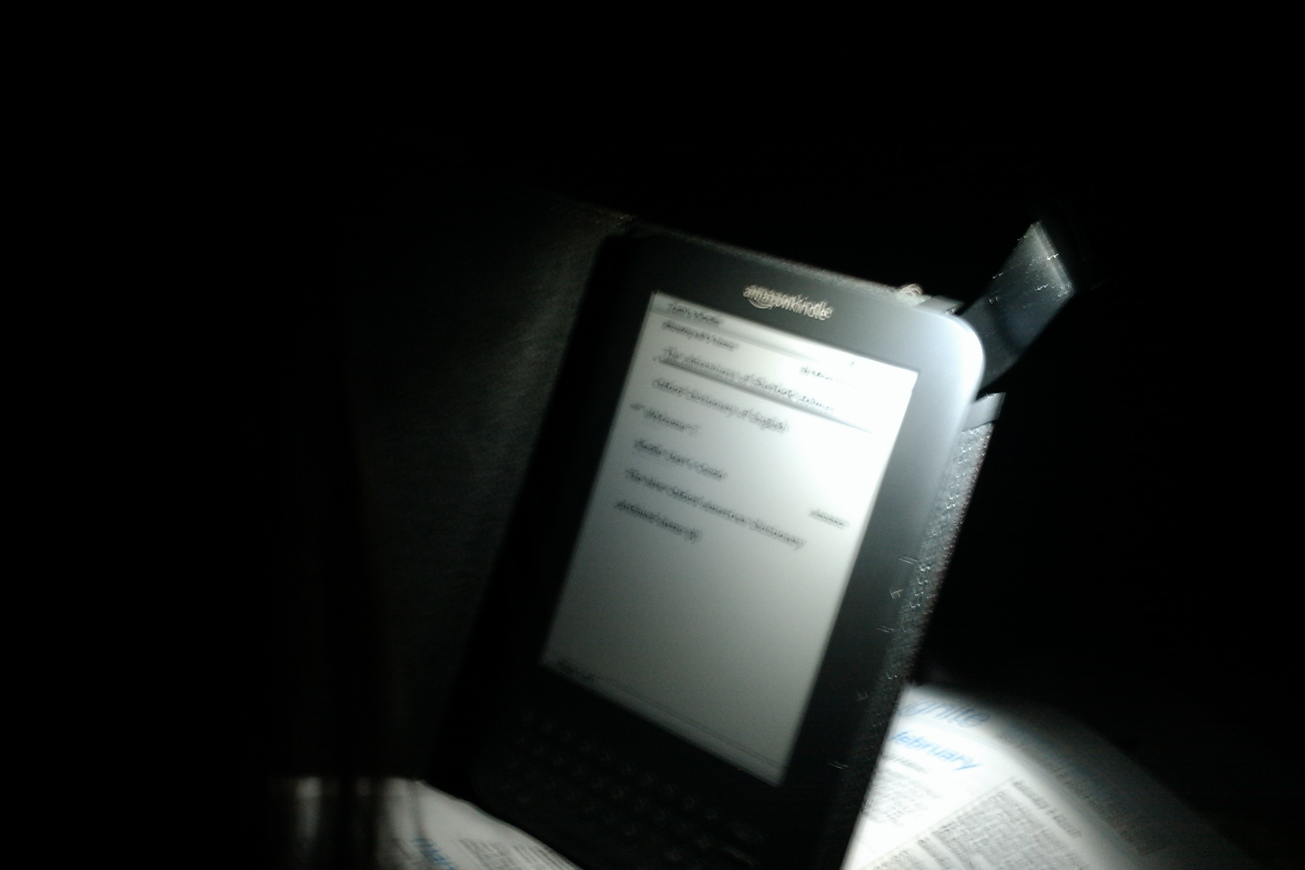 Amazon Kindle light cover in the dark