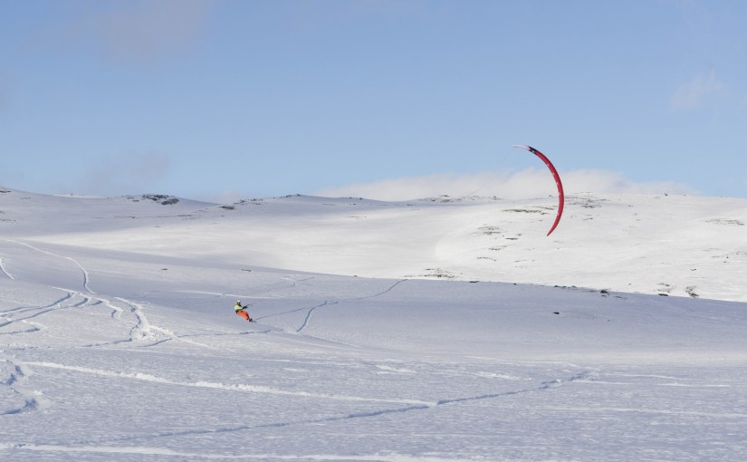 Snowkiting in Hardangervidda, Norway