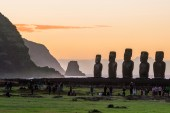 Silhouette shot of Moai statues in Easter Island, Chile