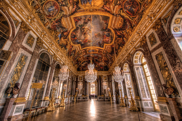 The Hall of Mirrors is the most famous room in the opulent Palace of Versailles (or the Château de Versailles) in the Île-de-France region of France.Read more: http://www.travelcaffeine.com/versailles-hall-of-mirrors-hdr/
