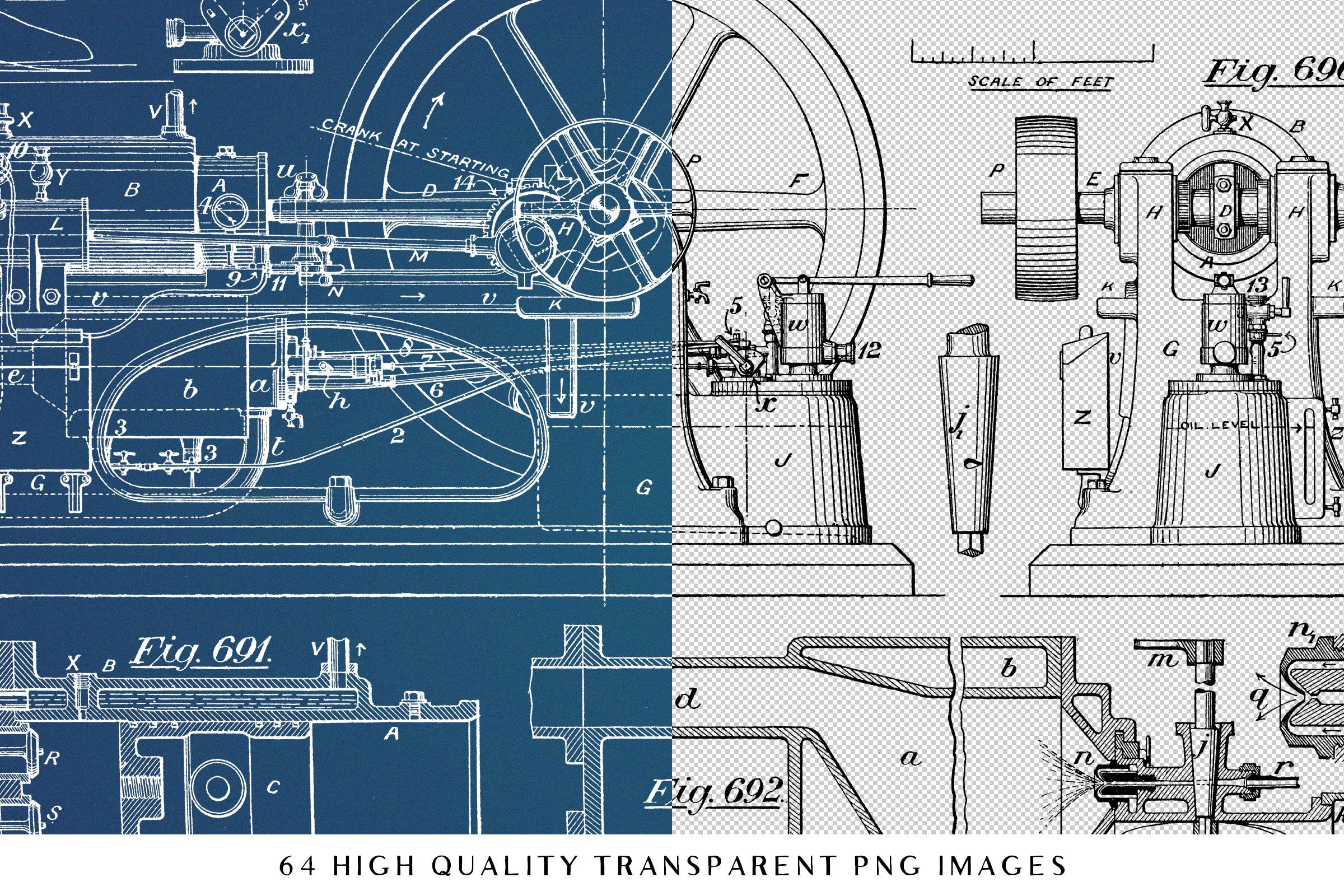 64 vintage mechanical blueprints