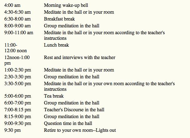 Vipassana course schedule