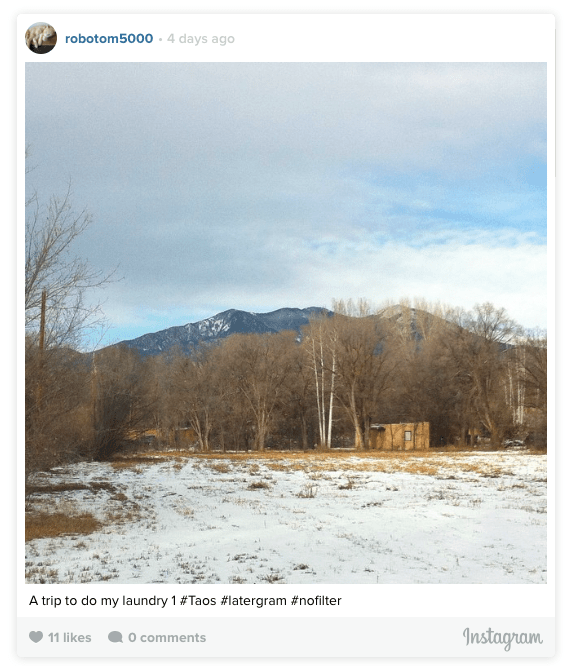 Photo of Taos scenery (screen cap from Instagram)