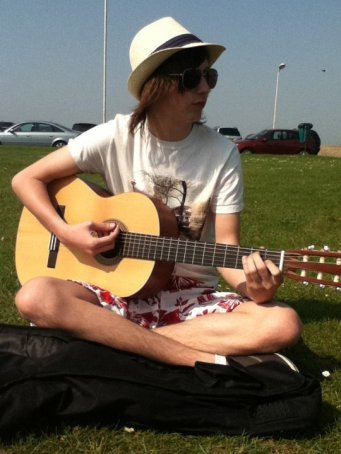 Playing in the sun. Got a free ice cream for this.
