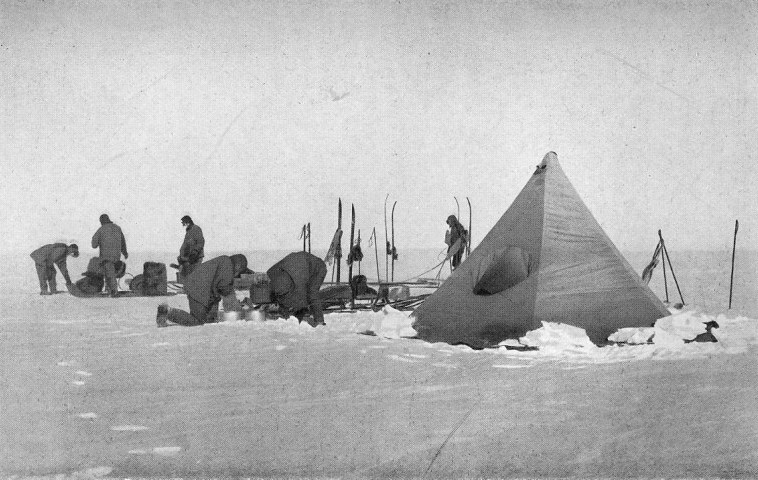 Captain Scott's South Polar party, heading for the pole, at 87°S: Scott, Wilson, Oates, Bowers, PO Evans, Lt Evans, Lashly, Crean