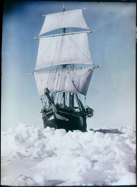 The 'Endurance' under full sail, held up in the Weddell Sea, 1915 / by Frank Hurley