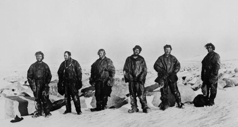 The Northern Party after their long winter in the ice cave. From left: Dickason, Campbell, Abbott, Priestley, Levick and Browning. © Scott Polar Research Institute, University of Cambridge