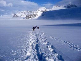 Making tracks, during the traverse of South Georgia.