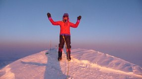 Jerry O'Sullivan on the summit of North America's highest peak, Denali, in Alaska.