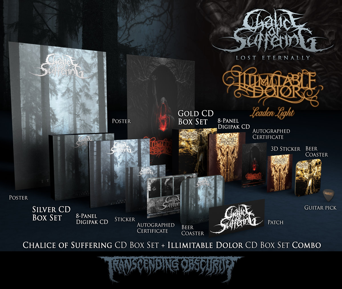 CHALICE OF SUFFERING + ILLIMITABLE DOLOR Double Box Set Combo -  TRANSCENDING OBSCURITY