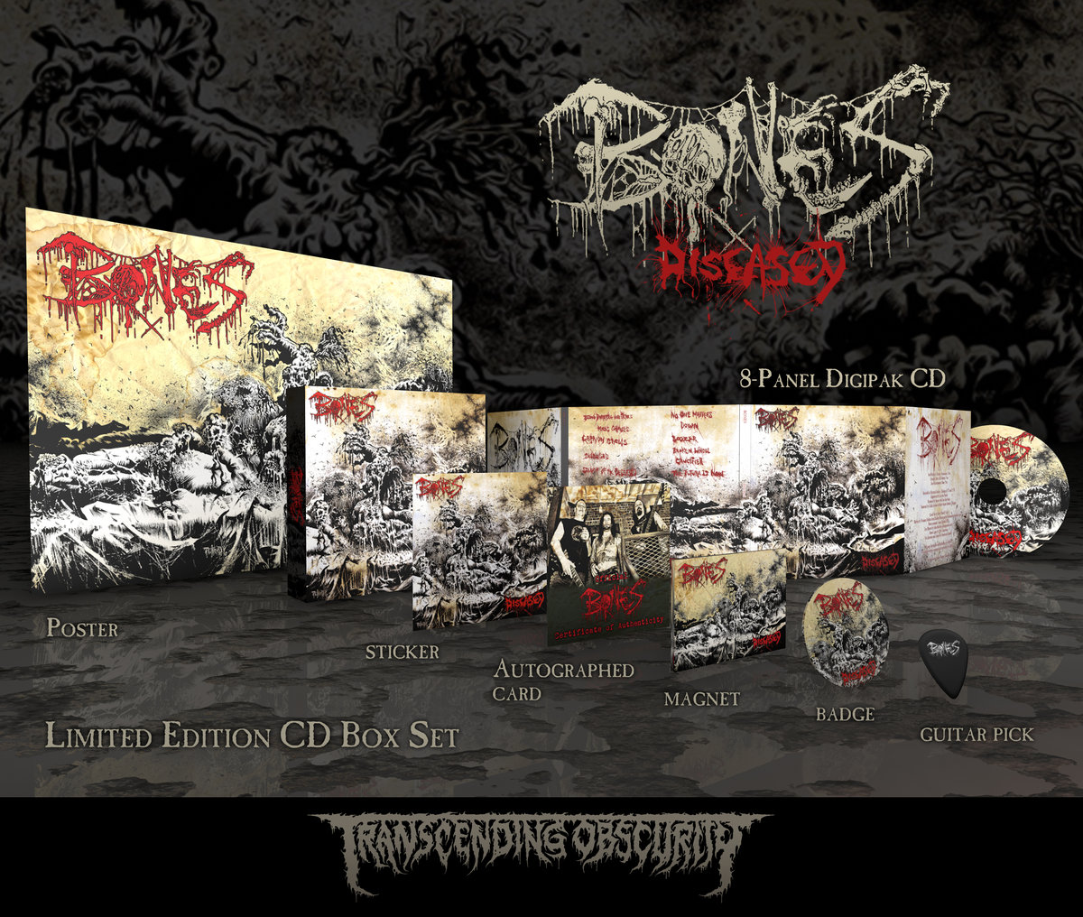 BONES - 'Diseased' Limited Edition Autographed Box Set (SPECIAL PRE-ORDER  PRICE!) - TRANSCENDING OBSCURITY