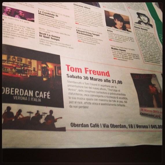 #oberdan cafe #TomFreund #verona #saturday #night #live #music