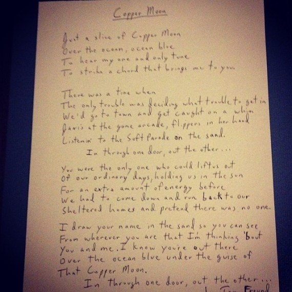 Starting the handwritten lyric requests for my @pledgemusic campaign for new album. Fun and challenging #CopperMoon #penmanship of the musician?!!!