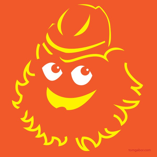 Gritty the Philadelphia Flyers mascot pumpkin carving template by Tom Gabor