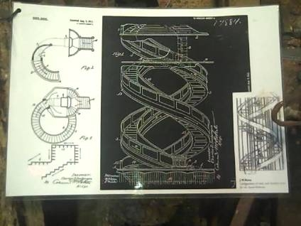 Strange plans from another time: spiral escalator blueprints