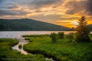 The sky clears just in time for a spectacular sunset over Spruce Knob Lake