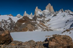 Laguna de Los Tres at the base of Monte Fitz Roy is still frozen in mid-spring