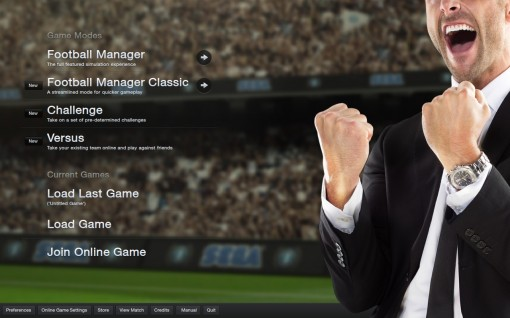 Home Screen Football Manager 2013
