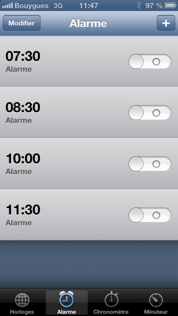 iOS 6 Alarme