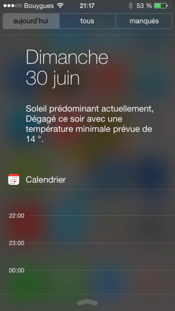 iOS 7 Centre de notifications