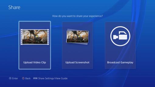 Interface PS4 Menu Share
