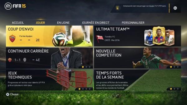 FIFA 15 (dans les menus)