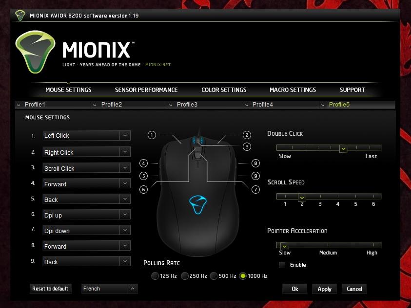 Mionix Avior 8200 Mouse Settings