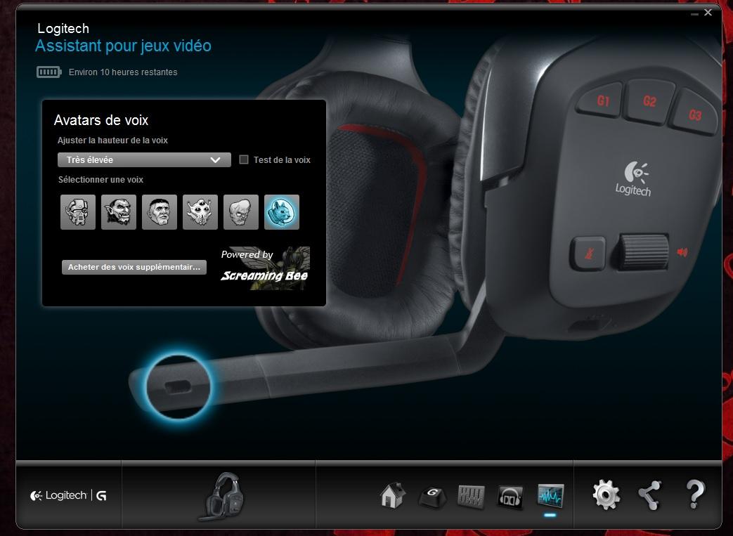 Logitech G930 Avatars de voix