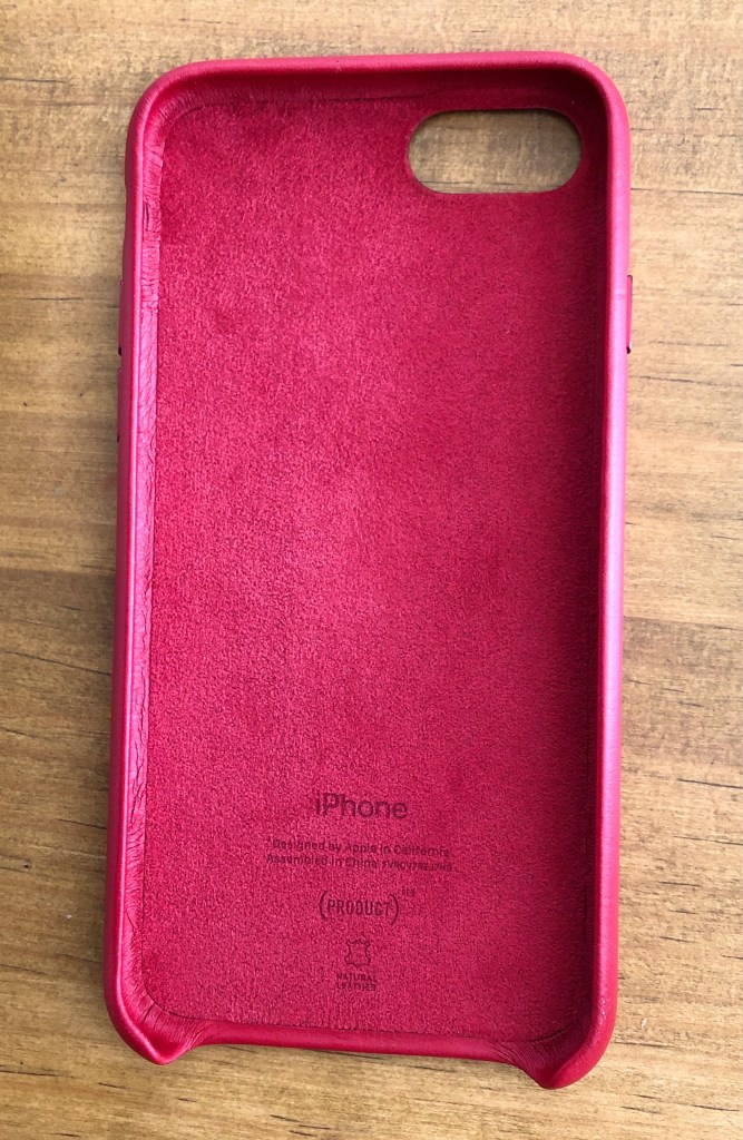 iPhone SE レザーケース PRODUCT(RED) 内側
