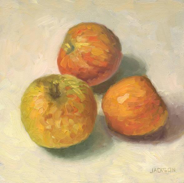 Three Apples, Tome Jackson, oil on panel